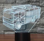 abordables -lámpara de mesa llevada de la lámpara del sensor del tacto del cambio de color de la lámpara del camión de bomberos ligero de la noche 3d