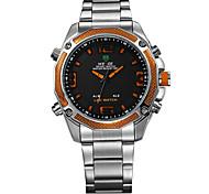 Недорогие -Муж. Модные часы Японский Цифровой Календарь Защита от влаги С двумя часовыми поясами Хронометр Фосфоресцирующий Нержавеющая сталь Группа