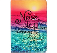 cheap -Case For Samsung Galaxy Card Holder Wallet with Stand Pattern Auto Sleep/Wake Up Full Body Cases Word / Phrase Hard PU Leather for Tab S2