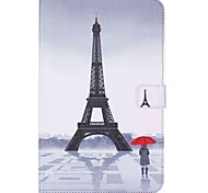 cheap -Case For Samsung Tab E 9.6 Card Holder Wallet with Stand Pattern Auto Sleep/Wake Up Full Body Cases Eiffel Tower Hard PU Leather for Tab