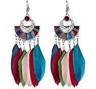 cheap -Women's Bohemian Drop Earrings Dangle Earrings - Vintage Bohemian White Black Dark Blue Rainbow Feather Earrings For Gift Evening Party