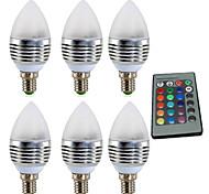 baratos -YWXLIGHT® 6pcs 4W 300-400 lm E14 Luzes de LED em Vela 1 leds LED de Alta Potência Regulável Decorativa Controle Remoto RGB