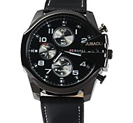 cheap -JUBAOLI Men's Quartz Casual Watch Chinese Large Dial Stainless Steel Leather Band Cool Black White