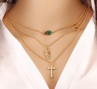 Недорогие -Жен. В форме листа Слоистые ожерелья - Сплав Классика Мода Крест В форме листа Ожерелье Назначение Подарок Повседневные