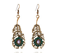 cheap -Women's Leaf Rhinestone Imitation Diamond Drop Earrings - Vintage Fashion Gold Leaf Earrings For Daily Going out
