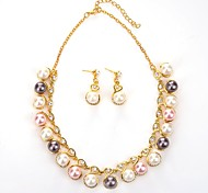 cheap -Women's Rhinestone / Imitation Pearl Ball Jewelry Set 1 Necklace / Earrings - Classic / Fashion Gold Drop Earrings / Pendant Necklace For