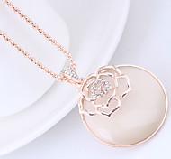 preiswerte -Damen Katzenauge Chrysoberyl Lang Anhängerketten - Opal Blumen / Botanik, Blume Europäisch, Modisch Gold Modische Halsketten Für Alltag
