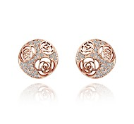 cheap -Women's Lovely Cubic Zirconia Stud Earrings / With Gift Box - Fashion Rose Gold Circle Earrings For Wedding / Daily