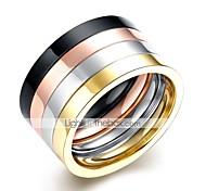 Недорогие -Муж. Ring Set - Нержавеющая сталь Камни 9 / 10 Цвет радуги Назначение Повседневные / Офис