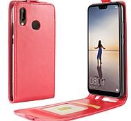 Недорогие -Кейс для Назначение Huawei P20 lite P20 Бумажник для карт Флип Чехол Однотонный Твердый Кожа PU для Huawei P20 lite Huawei P20
