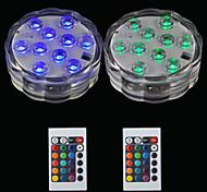 Недорогие -BRELONG® 2pcs 2 Вт. Подводное освещение Дистанционно управляемый Водонепроницаемый Декоративная Бассейн RGB 5.5V