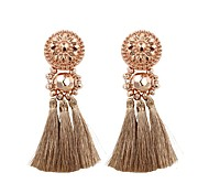 cheap -Women's Drop Earrings Tassel Fashion Cotton Circle Jewelry Light Blue Light Brown Light Pink Rose Gold Dark Green Gift Daily Costume
