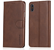 cheap -Case For Apple iPhone X iPhone 8 Card Holder Wallet Shockproof with Stand Flip Full Body Cases Solid Colored Hard PU Leather for iPhone X