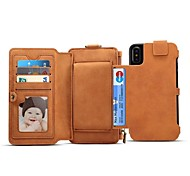 Недорогие -Кейс для Назначение Apple iPhone X iPhone 8 Бумажник для карт Кошелек Флип Магнитный Чехол Однотонный Твердый Настоящая кожа для iPhone X
