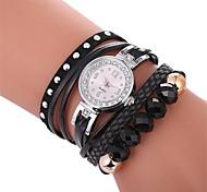preiswerte -Damen Quartz Simulierter Diamant Uhr Armband-Uhr Armbanduhren für den Alltag Chinesisch Imitation Diamant Armbanduhren für den Alltag PU