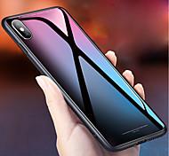 Недорогие -Кейс для Назначение Apple iPhone X Зеркальная поверхность Кейс на заднюю панель Однотонный Твердый Закаленное стекло для iPhone X iPhone