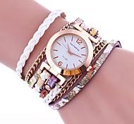 preiswerte -Damen Quartz Simulierter Diamant Uhr Chinesisch Armbanduhren für den Alltag PU Band Böhmische Modisch Schwarz Weiß Blau Rot Braun Grün