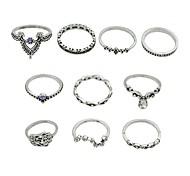 cheap -Women's Ring Set - Imitation Tourmaline, Alloy Basic, Fashion Hamsa Hand 7 Silver For Daily / Date