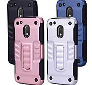 Недорогие -Кейс для Назначение Motorola G4 Plus Защита от удара со стендом Кейс на заднюю панель Однотонный Твердый ПК для Мото G4 Plus Moto G4 Play