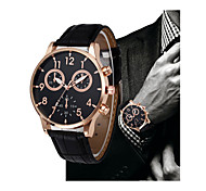 cheap -Men's Dress Watch Chinese Chronograph PU Band Casual / Elegant Black / Brown