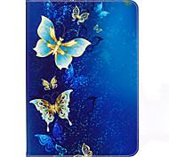Недорогие -Кейс для Назначение SSamsung Galaxy Tab S2 9.7 Бумажник для карт Кошелек со стендом С узором Авто Режим сна / Пробуждение Чехол Бабочка