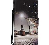 Недорогие -Кейс для Назначение SSamsung Galaxy A8 2018 A5(2017) Бумажник для карт Кошелек со стендом Флип Магнитный Чехол Вид на город Твердый Кожа
