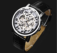 cheap -ASJ Men's Skeleton Watch Wrist Watch Mechanical Watch Automatic self-winding Leather Black Hollow Engraving Analog Luxury Fashion - Silver