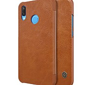 cheap -Case For Huawei P20 lite Card Holder Flip Full Body Cases Solid Colored Hard PU Leather for Huawei P20 lite