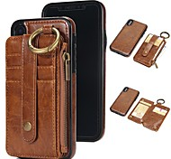 cheap -Case For Apple iPhone X / iPhone 8 Card Holder / Wallet / with Stand Full Body Cases Solid Colored Hard Genuine Leather for iPhone X /