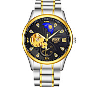 cheap -BOSCK Men's Mechanical Watch Automatic self-winding Stainless Steel Silver 30 m Water Resistant / Waterproof Hollow Engraving Noctilucent Analog Luxury Skeleton - White Black Golden