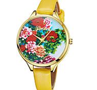 Недорогие -Geneva Жен. Наручные часы Китайский Новый дизайн / Повседневные часы / Cool Кожа Группа На каждый день / Мода Коричневый / Фиолетовый / Желтый