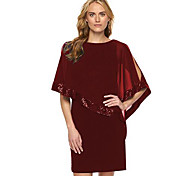 b3a61eb11d00 economico -Per donna Taglie forti Per uscire sofisticato Chiffon Vestito -  Con lustrini