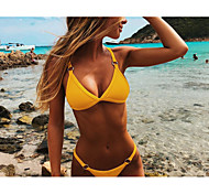 7e17cdbdeb8 cheap -Women's Strap Black Orange Yellow Triangle Cheeky Bikini  Swimwear -