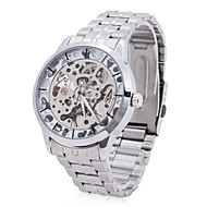 お買い得  -WINNER 男性用 機械式時計 自動巻き 透かし加工 ステンレス バンド ハンズ ぜいたく シルバー - シルバー