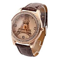 Dames Modieus horloge Kwarts imitatie Diamond PU Band Informeel Eiffeltoren Zwart Wit Rood Bruin roze