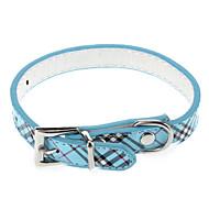 저렴한 -강아지 칼라 조절 가능 / 리트랙터블 격자무늬 / 체크 PU 가죽 퍼플 블루 핑크