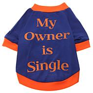 저렴한 -강아지 티셔츠 강아지 의류 문자와 숫자 블루 면 코스츔 제품 모든계절 & 가을