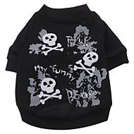 저렴한 -강아지 티셔츠 강아지 의류 해골 블랙 면 코스츔 제품 모든계절 & 가을 여름 남성용 여성용 패션 할로윈
