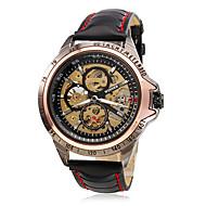 abordables Winner-WINNER Hombre Reloj de Pulsera / El reloj mecánico Huecograbado PU Banda Encanto Negro / Cuerda Automática
