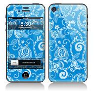 Синий Передняя цветочным узором и обратно всего Наклейки для iPhone 5