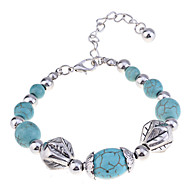 Lureme®Silver Plated Alloy Turquoise Bead Conneected Bracelet
