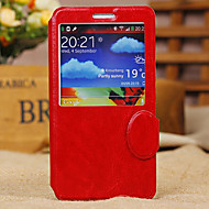 For Samsung Galaxy Note with Windows / Flip Case Full Body Case Solid Color PU Leather Samsung Note 3