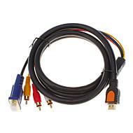 billige -HDMI v1.3 Mand til 3 RCA + VGA Mand HD15 Video Lyd AV Component kabel (1,5 Mb)