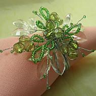 Yeşil Çiçekli Akrilik Boncuk Peçete halkası, 12 Dia4.2-4.5cm Seti
