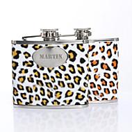 billiga Personliga dricksglas-Personlig gåva Leopardtrycket mönstrar 5oz PU läder versaler Flask