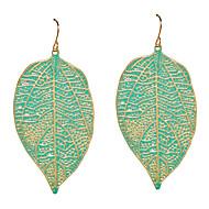 זול -בגדי ריקוד נשים עגילי טיפה עגילים Leaf Shape תכשיטים ירוק / ורוד עבור יומי