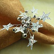 Estrelas casamento Guardanapo Anel Conjunto de 6, Pearl Dia 4,5 centímetros