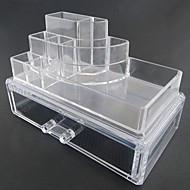 お買い得  ヘルス&ビューティー-メイク用品収納 化粧品箱 / メイク用品収納 プラスチック / アクリル ゼブラプリント 四辺形 18.5 x 11.5 x 11.6 ビスク