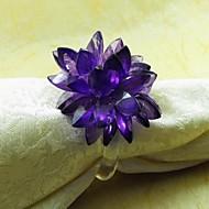 Κρύσταλλο λουλούδι χαρτοπετσέτα Ring, ακρυλικό, 3,5 εκατοστά, Σετ 12