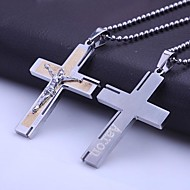 Joyería personalizada Regalos de acero inoxidable en forma de cruz de la biblia del collar colgante grabado con 60 cm Cadena